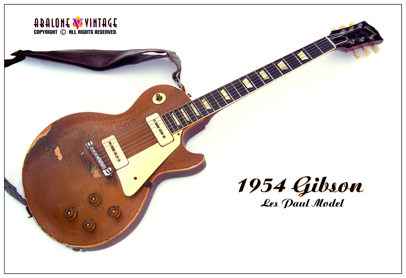 1954 Gibson Les Paul Standard Model Guitar. The well loved and worn road warrior.