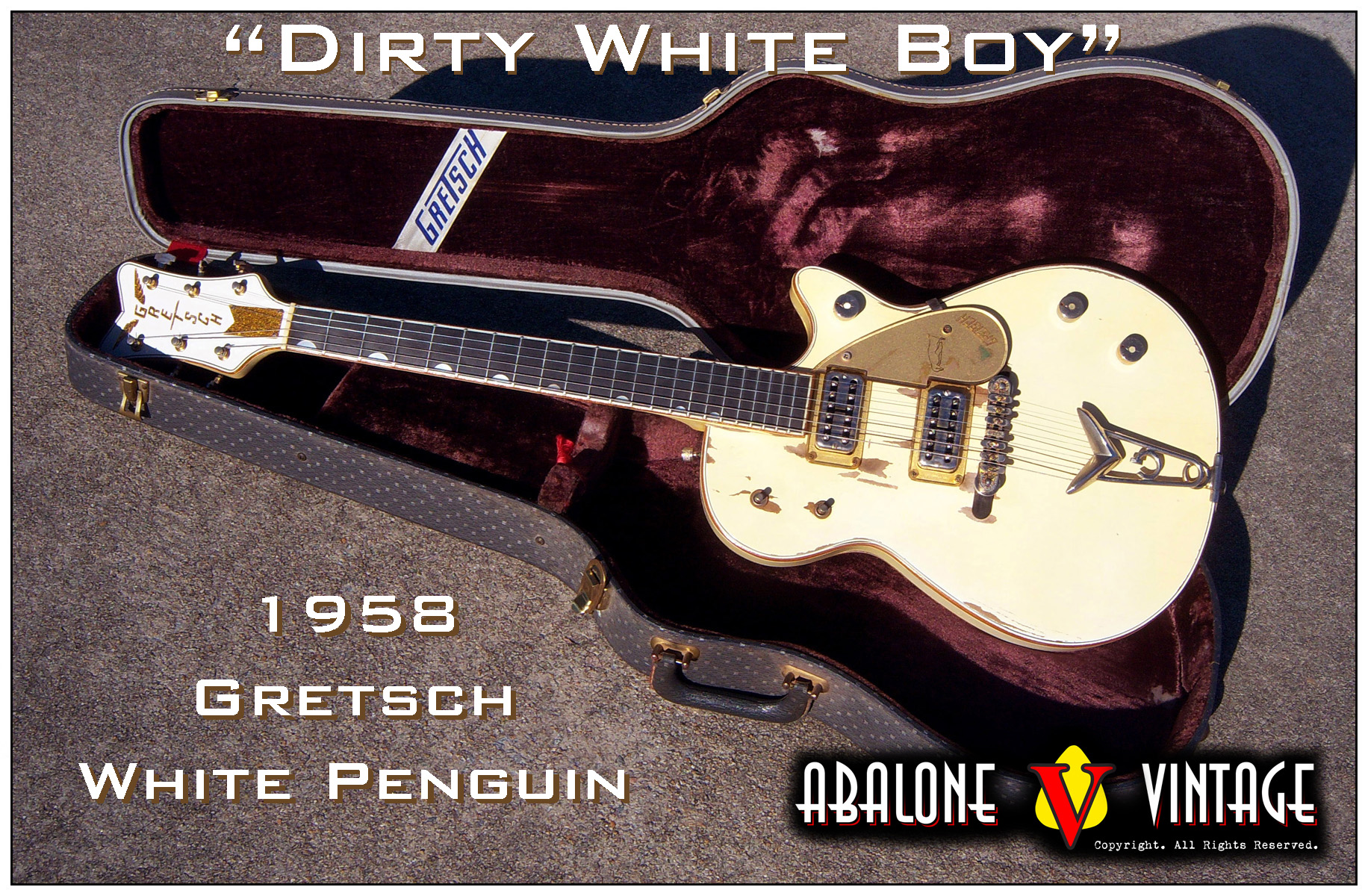 1958 Gretsch White Penguin guitar vintage guitars dirty white boy guitar world