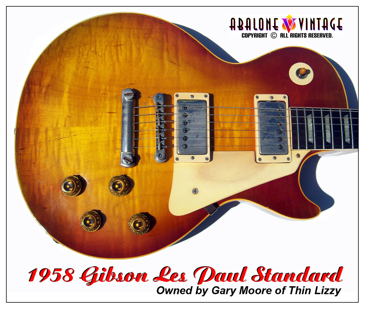 1958 Gibson Les Paul Standard guitar owned by Gary Moore of Thin Lizzy.