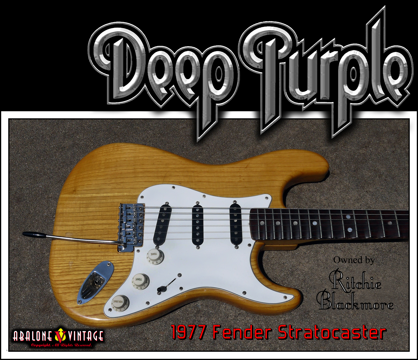 1977 fender stratocaster owned by ritchie blackmore of deep purple and rainbow.