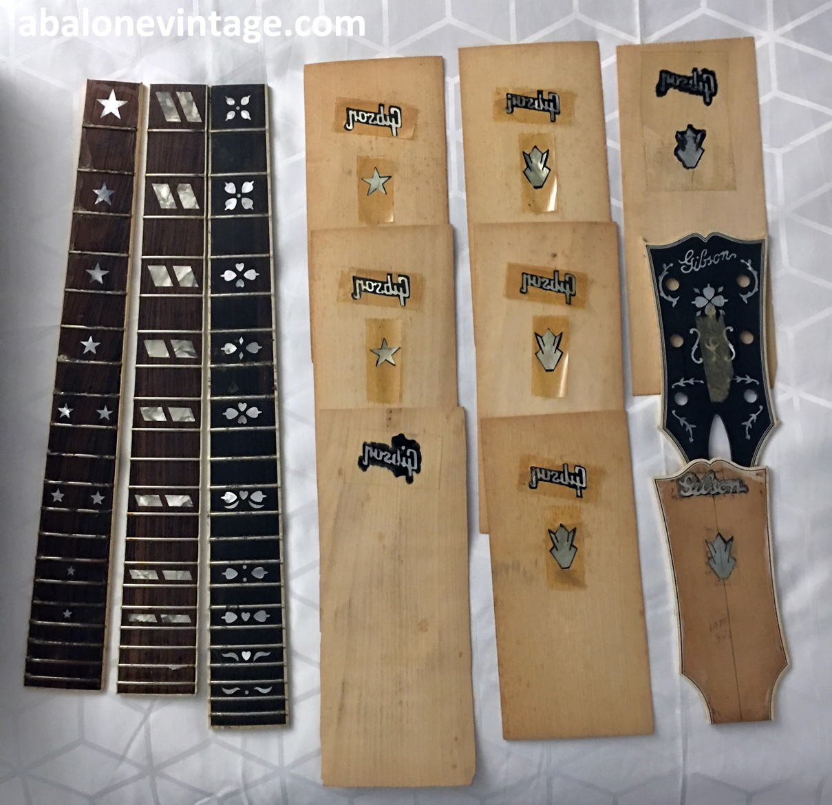 gibson guitars original nos fingerboards and headstock overlays. Black Bedroom Furniture Sets. Home Design Ideas